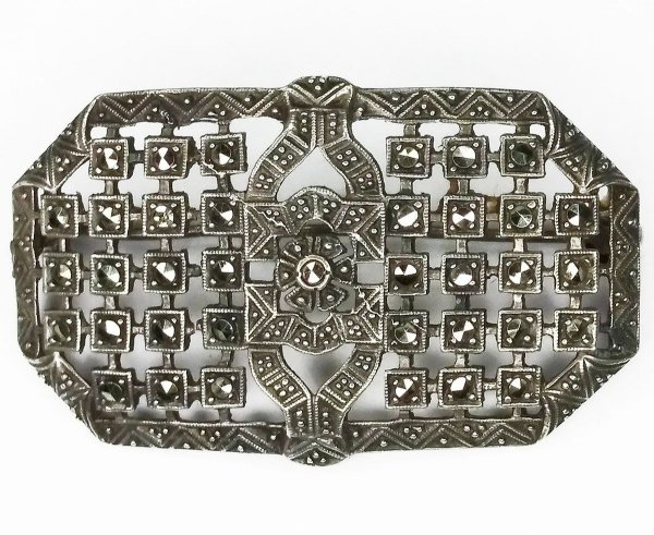Broche Antigo em Prata 935 e Marcassita, Estilo e Época Art Deco