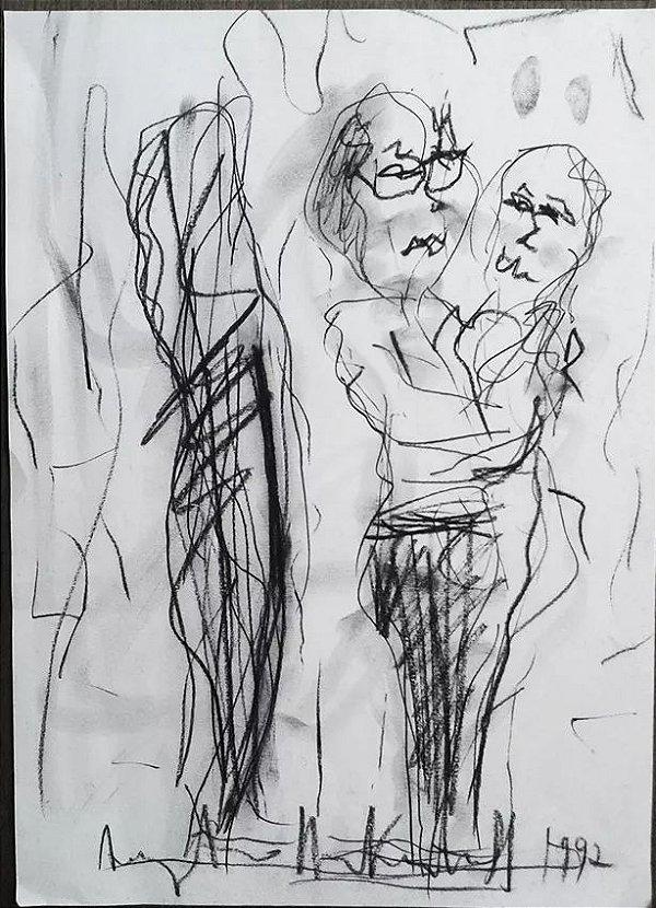 Augusto Herkenhoff - Desenho A Carvão Original Assinada