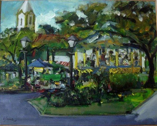 M. Schiaz - Quadro Pintura Santana De Parnaíba Assinado 2008