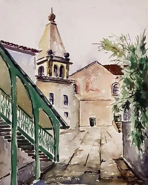 Georges Wambach - Pintura Aquarela Original Assinada, 1944