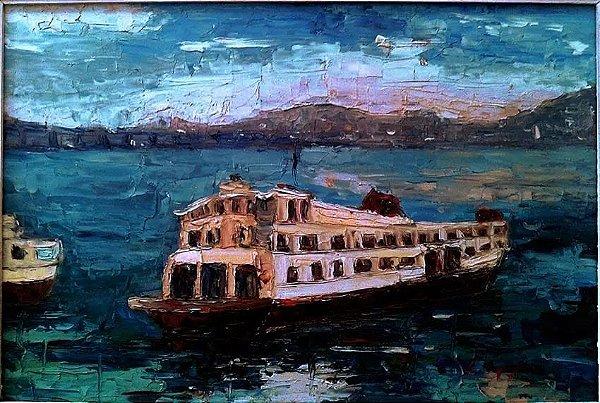 Ligia Spinelli - Quadro Barca Da Cantareira, Óleo sobre Eucatex