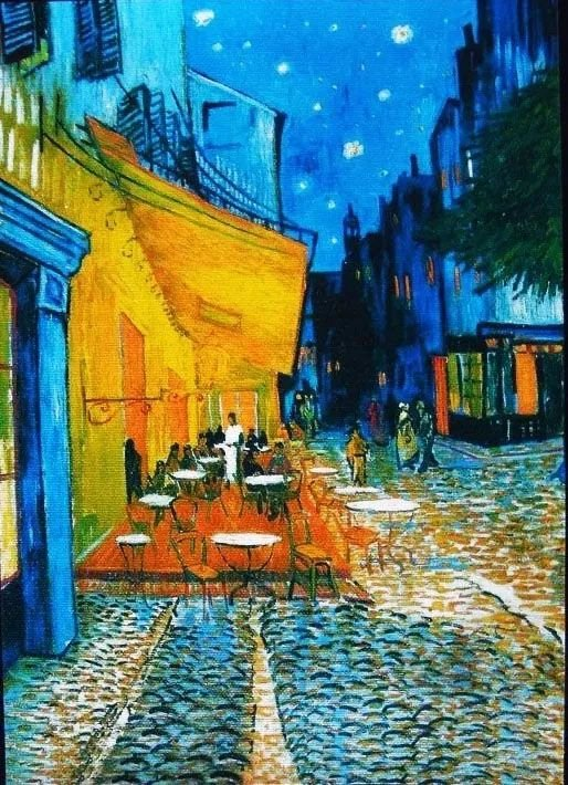 Van Gogh - Quadro Terraço Do Café À Noite Estampa a Laser sobre Tela