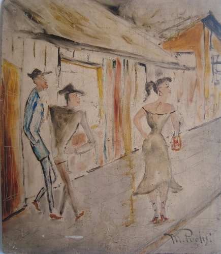 M. Puglisi -  Pintura Assinada, Técnica Mista Sobre Madeira