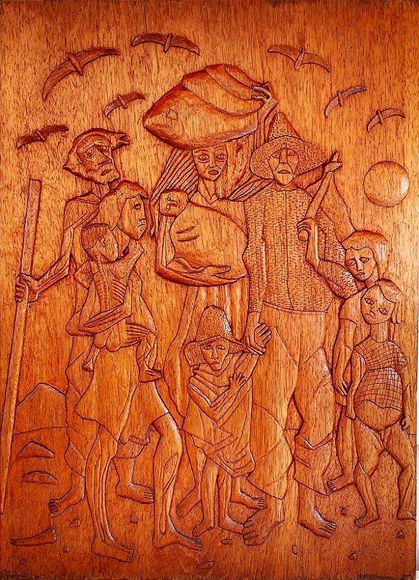 Talha, Escultura em Madeira, Releitura de Obra de Portinari Assinada