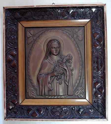 Arte Sacra, Santa Terezinha - Quadro em Metal Moldura em Relevo,  Art Nouveau