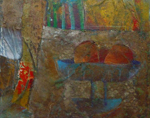 José Damasceno - Quadro, Pintura Técnica Mista sobre Eucatex, Natureza Morta