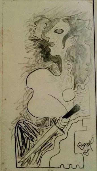 Guyer Salles - Desenho A Lápis Sobre Cartão, Assinado, 1968
