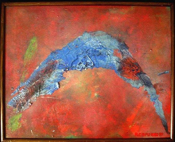 A. Capuano - Quadro, Pintura Acrílica S/ Tela Assinada, Emoldurado