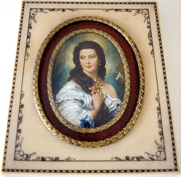 Zuley - Antiga Pintura Miniatura Figura de Dama Assinada,Vidro Bombê