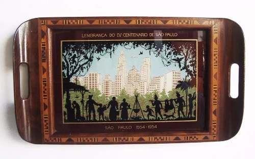 Bandeja Antiga - IV Centenário de São Paulo - Pintura Sobre Vidro
