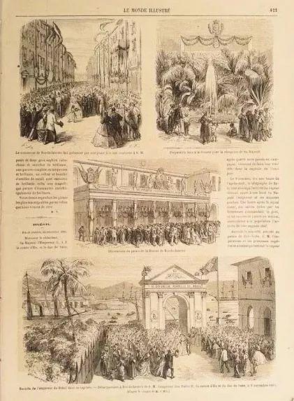 Antigo e Original Jornal Francês Matérias sobre  Brasil e Dom Pedro II