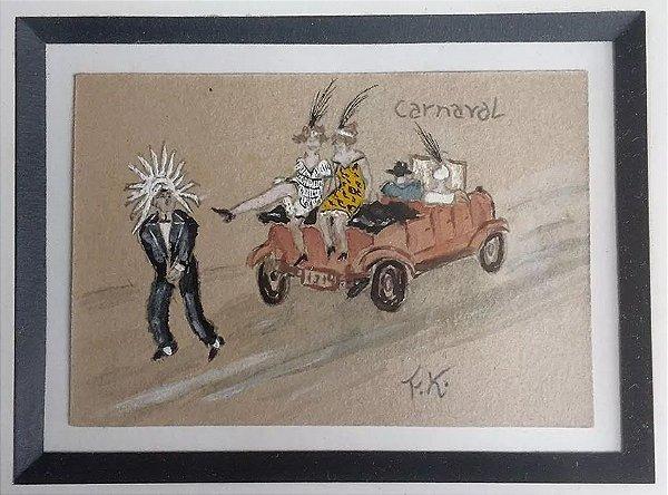 Franz Kohout - Carnaval - Pintura sobre Cartão, Emoldurado