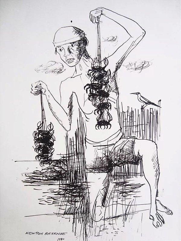 Newton Rezende - Desenho a Nanquim, Vendedor de Caranguejo