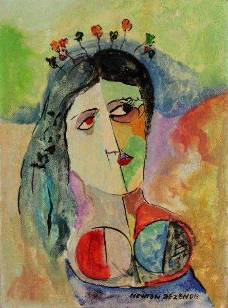 Newton Rezende - Pintura Representação de  Noiva,  Guache sobre Cartão