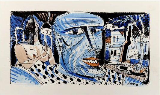 Vilmar Rodrigues - Pintura em Nanquim E Aquarela, Assinada