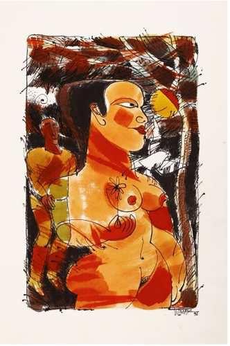 Vilmar Rodrigues - Pintura Figura de Mulher Nua,  Nanquim e Aquarela, Assinada