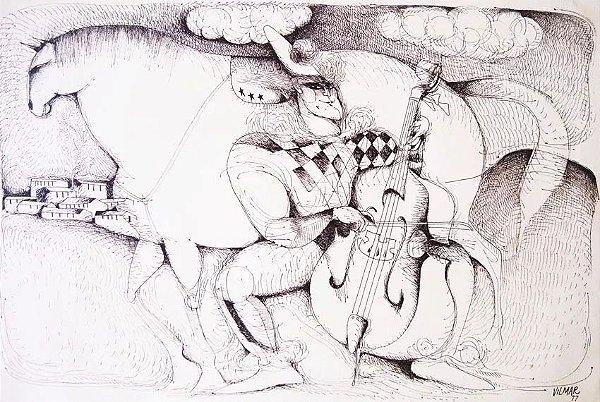 Vilmar Rodrigues - Desenho Nanquim no Estilo Vasco Prado, Assinado