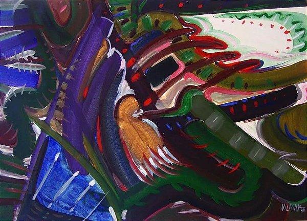 Vilmar Rodrigues - Pintura A Guache Titulada Concerto em Verde, Assinado, 1990