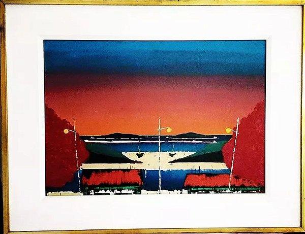 Amalfi - Quadro, Pintura Óleo sobre Tela, Marinha ao Amanhecer, 1976
