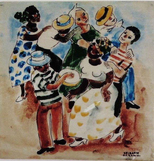 Mario Zanini - Azulejo Com Imagem De Obra Do Artista