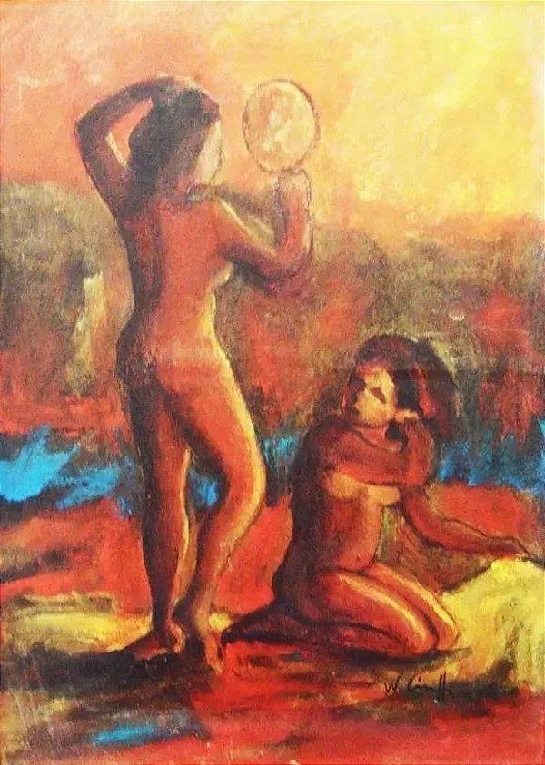 Wanderley Ciuffi - Pintura Óleo sobre Eucatex Nu Feminino