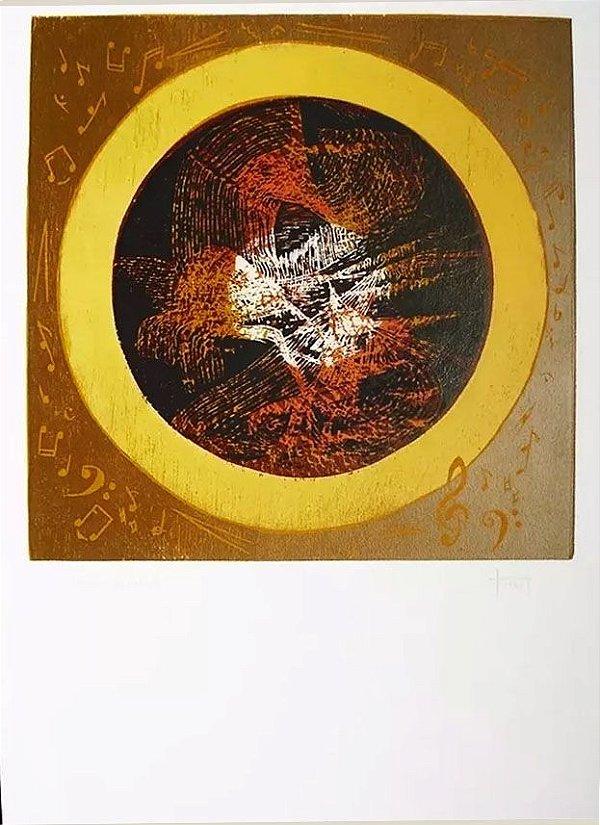 Hannah Brandt - Gravura,  Xilogravura Musical Abstrato, Prova de Artista, 1973