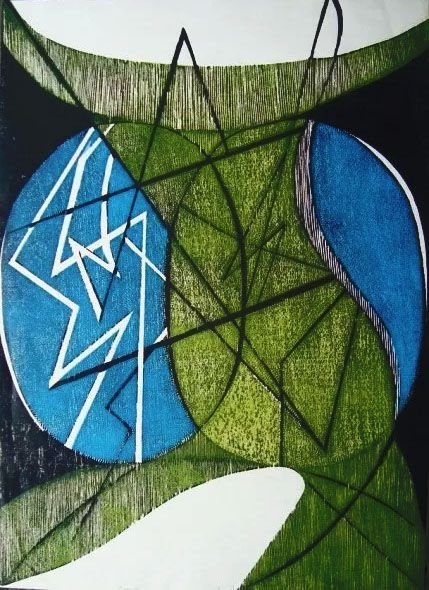 Hannah Brandt - Gravura, Xilogravura Abstrata, 1979