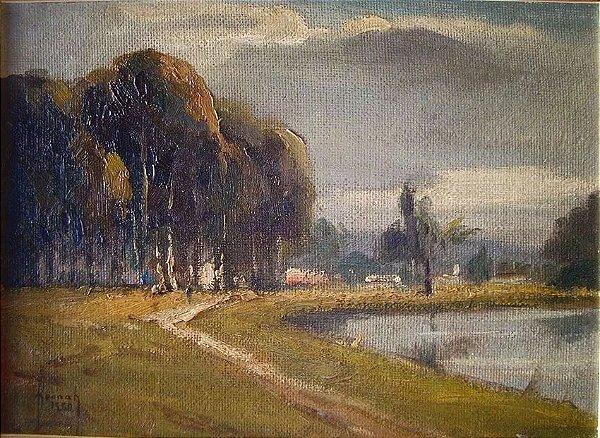 Hannah Brandt - Pintura Paisagem com Lago, Óleo sobre Eucatex, 1960