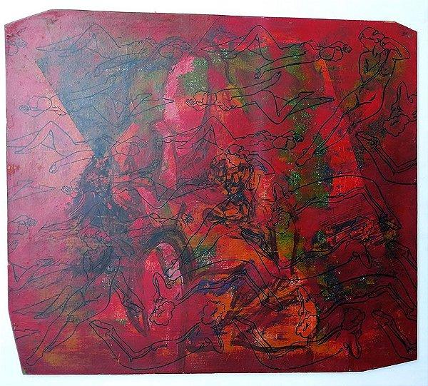 Ronald Horst Sperling, Pintura Erótica, Nu Feminino, Técnica Mista sobre Madeira