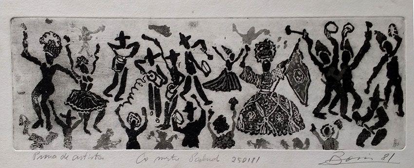 Boris Arrivabene - Gravura, Xilogravura Carnaval, Prova de Artista, 1981