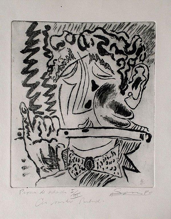 Boris Arrivabene - Gravura, Xilogravura Flautista, Prova de Artista, 1980