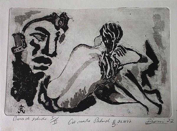 Boris Arrivabene - Gravura, Xilogravura Nu Feminino, Prova de Artista, 1977