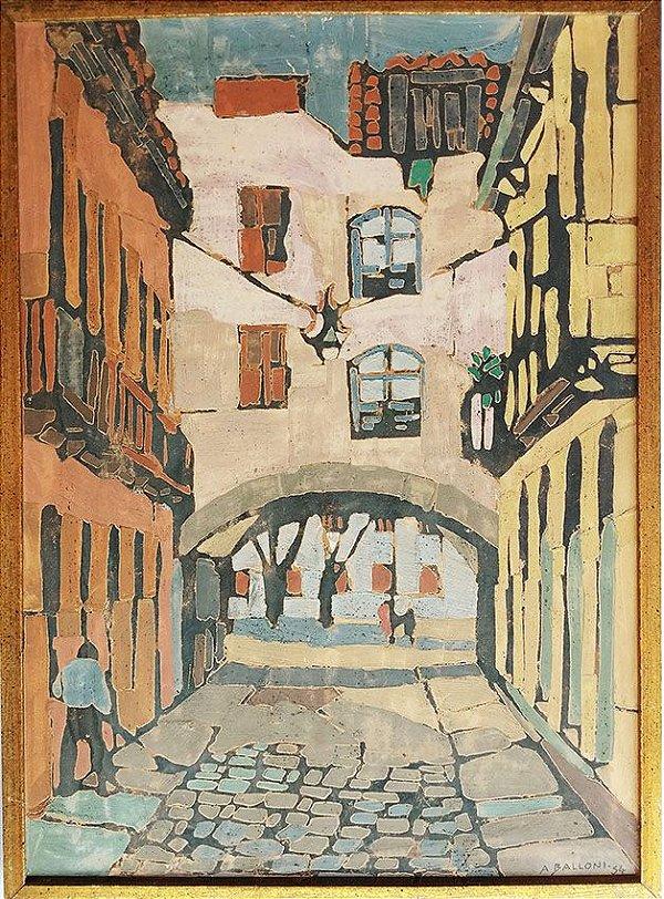 Armando Balloni - Pintura Óleo sobre Tela, Cidade Antiga, 1954