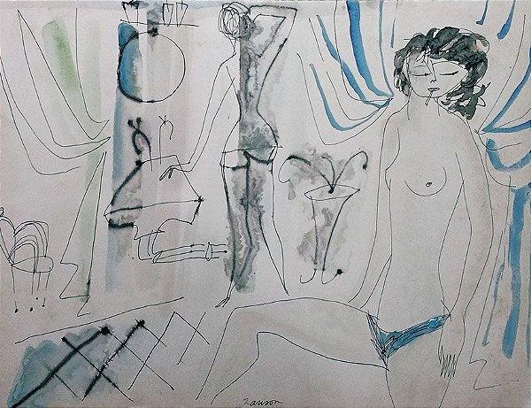 Janson - Pintura em Aquarela Original,  Paris, Nu Feminino