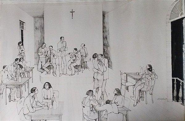 A. Campelo - Desenho a Nanquim Original, Boteco 1967