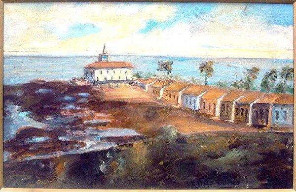 Beatriz Dutra - Pintura, Cidade no Litoral, Óleo sobre Eucatex
