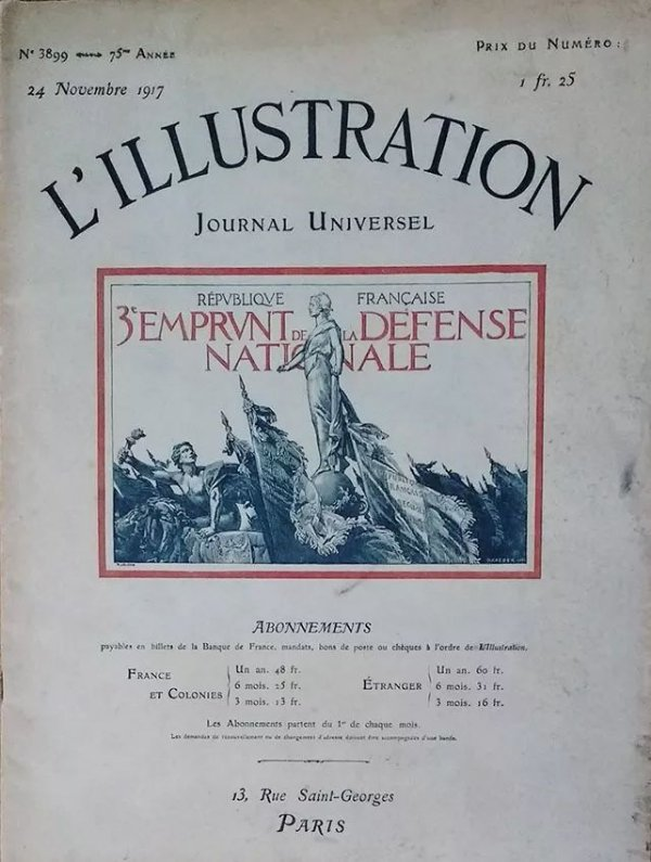 Jornal L´illustration, de 1917 - Morte de Rodin e Entrada do Brasil na Primeira Guerra Mundial