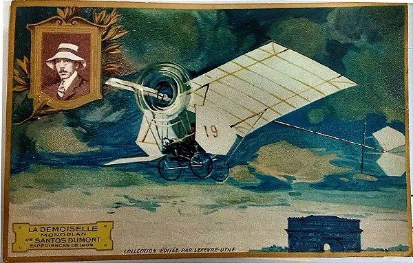 Santos Dumont - Cartão Postal Antigo Original, Tipográfico Com Relevos