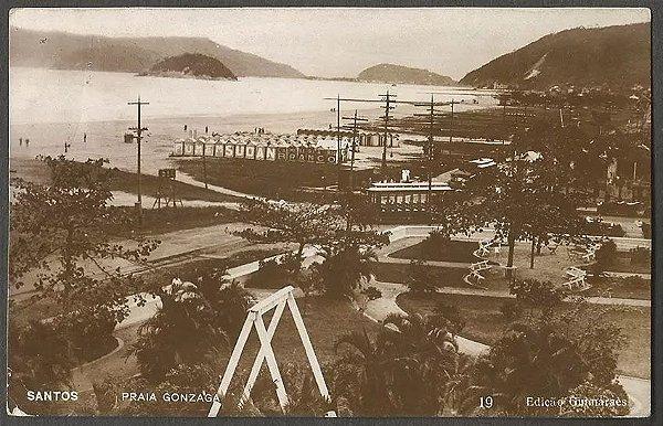 Santos - Praia do Gonzaga - Cartão Postal Antigo, Fotográfico,  Original