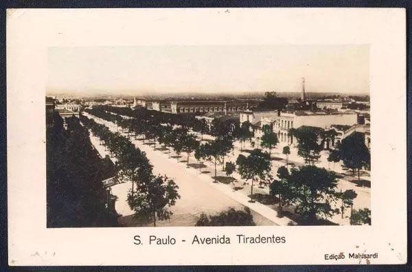 São Paulo - Avenida Tiradentes, Cartão Postal Antigo Original
