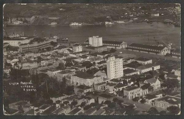 Espírito Santo - Vitória, Vista Aérea Parcial - Cartão Postal Fotográfico Antigo, Original