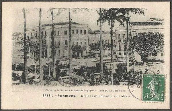 Pernambuco, Recife - Jardim 15 de Novembro - Cartão Postal Antigo Original