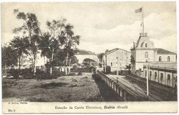 Bahia - Estação Da Carris Electricos - Cartão Postal Antigo Original
