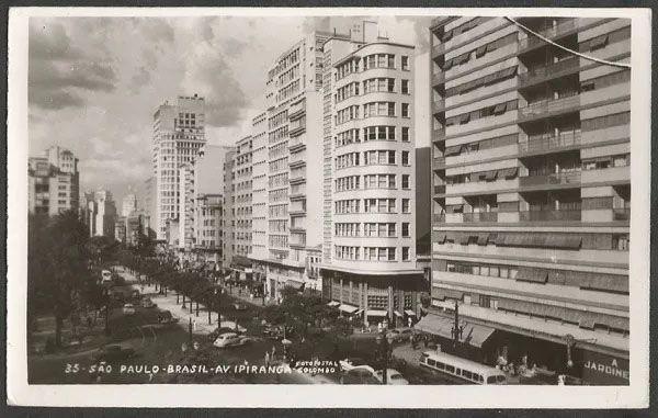 São Paulo - Av. Ipiranga - Cartão Postal Antigo Original