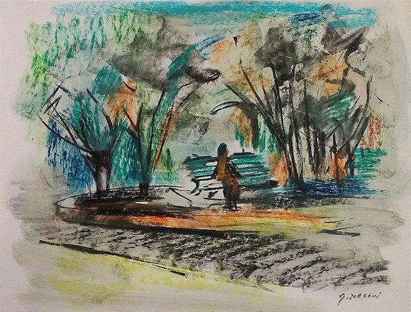 Giancarlo Zorlini - Pastel Sobre Cartão Original, No Parque