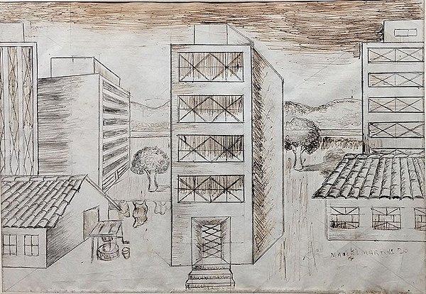 Manoel Martins - Quadro, Desenho A Nanquim, Original de 1970, Emoldurado