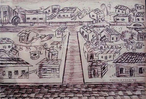 Manoel Martins - Quadro, Desenho A Caneta Original de 1970,  Rica Moldura