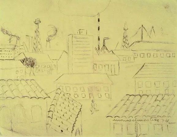 Manoel Martins - Desenho Original Sobre Papel De Seda - 1972