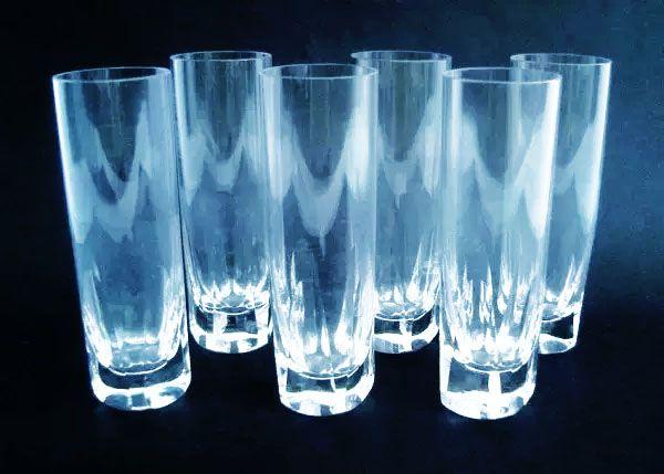 Jogo com 6 Copos Para  Vodka em Cristal Lapidado de Alta Transparência