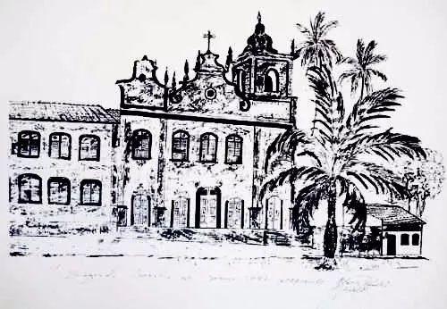Mario Rezende - Pintura Nanquim Original - Igreja em Igarassu - Pernambuco